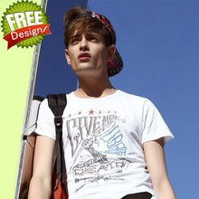 European style fashion brand cotton round neck bulk wholesale white t-shirt