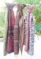 double side wear handmade kantha work silk kantha scarf stole lot