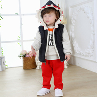 New Year Baby 3 Piece Clothes Suits Include Cartoon Pullover And Hooded Coat And Red Pant Children Outfits In Stock CS81107-19