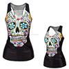 plain sublimation skull black cheap sexy summer women collar tshirt design