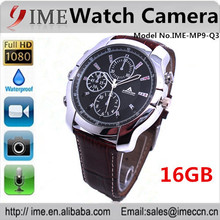 Wholesale shop full HD 1920*1080 black leather bracelet 16gb watch camera with IR night vision, hidden recorder DV