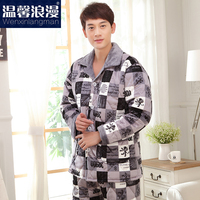 New style flannel winter thick men's nighty soft fabric men sleepwear coral fleece plus size cotton nighty