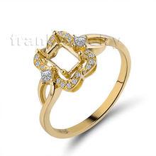 Emerald Cut 4x6mm 18K Dubai Wedding Rings Yellow Gold Ring Semi Mount WU269