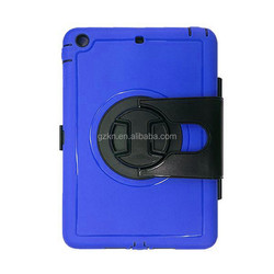 Smart bumper hard plastic and TPU hybrid shockproof case for iPad mini with belt and 360 degree rotate stand