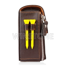 Personalized Zipped Leather Golf Ball Pouch