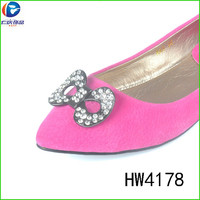 HW4178 Alloy eco friendly clips shoe buckles metal spring clip with rhinestone