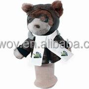 imprinted t-shirt bandana plush stuffed soft brown Aviator Bear Golf Club Cover toys custom logo embroidery beanbag mascot band