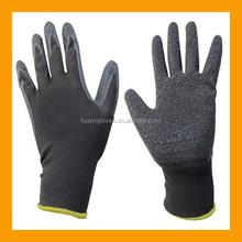 Black Latex Work Gloves Safety Rubber Palm Grip Nylon Liner Gloves