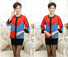 Autumn and winter stiching colors old women's knit thick sweater cardigan
