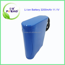 lithium ion 18650 11.1V 2200mAh Rechargeable battery pack with PCB protection