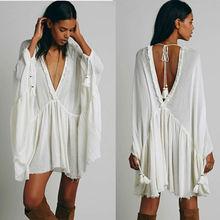 High quality raw hem cotton tunic dress long sleeve fashion empire waist day dress