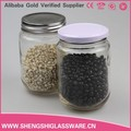 Forma redonda de milho/grão 380ml jarra de vidro com tampa de alumínio