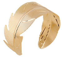 new European gold statement fashion cuff bracelet leaves arm ring jewelry