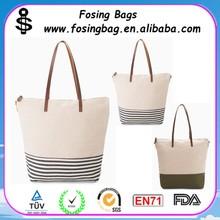 promotional cheap stripe canvas beach tote bag wholesale