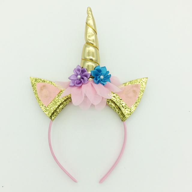 유니콘 슬리퍼 DIY 꽃 유니콘 머리띠 파티 장식 헤어 밴드