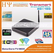 octa core cpu 64 unit powerVR G6230 gpu 2g ram 16g rom 3 usb port dual wifi 2.4ghz/5ghz allwinner a80 4k tv box