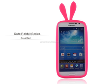 Cute Rabbit Series!100% original silicone phone case cover for universal silicone bumper (Rose Red)