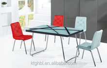 2015 hot sell white color glass with black printing multifuction tempered glass dining table