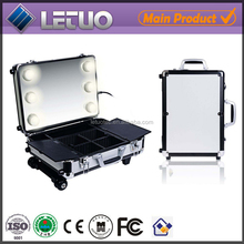 lighiting new design vanity case aluminum makeup case with legs cosmetic bags cases
