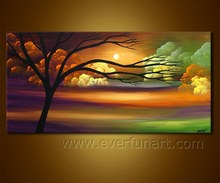 modern hand-painted mountain scenery oil painting on canvas for home decoration