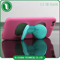 China Manufacturer 2015 mobile phone cover with stand PC + Silicone Bow Cover for iPhone 6