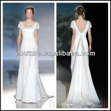 new arrival short sleeve boat U neck V back floor length satin skirt A lineTM675 bride dress