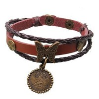 European and American jewelry, hand-woven leather bracelet rivets butterfly commodity wholesale NL004