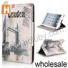 Retro London Bridge Pattern Magnetic Cover Folio Stand Leather Case for iPad Mini/Retina iPad Mini