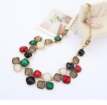 2015 fashion classic short section of metal inlay design garnet necklace