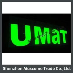 12v 50*50 green LED strip lighted up led alphabet letters sign for store, bank, park, bar front brand name sign