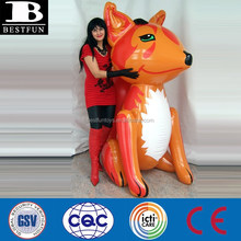 China supply big pvc inflatable fox toys giant inflatable animals toys display