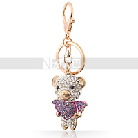 Girls Crystal Heart Angel Bear Bag Keychain High Quality