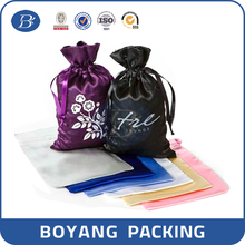 Good quality hair extensions drawstring satin packing pouch bag