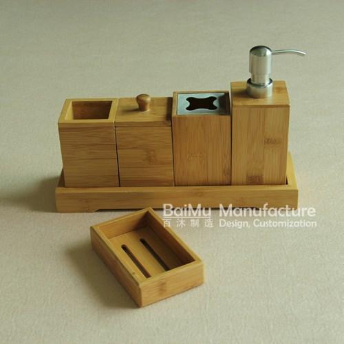 6pcs Bamboo Bathroom Set Bathroom Accessories