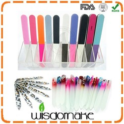 Manufacture high quality mini disposable glass & emery board printed crystal nail file
