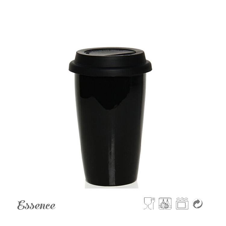 Wholesale 300ml Ceramic Coffee Travel Mug With Silicon Lid