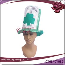Sequin tall style hat with clover for St patrick day