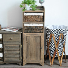 Antique Narrow solid wood storage cabinet with woven baskets