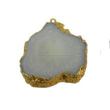 Beautiful Druzy Geode Agate Silce Necklace Pendant