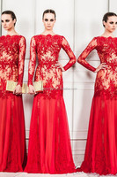 Beautiful Nice 2014 Sexy Prom Dress Bridal Evening Dresses Gowns Dress Applique Red Floor Length Long Sleeve