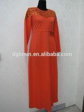 abaya de color naranja de hombro kaftan caftán de lentejuelas abaya wasitband abaya kaftan con bowknot