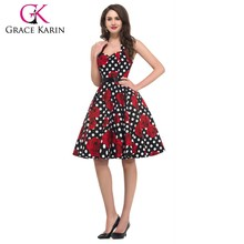 Grace Karin Sexy Halter Cotton Cheap Women Plus Size 50s Vintage Inspired Dress CL6075-19#