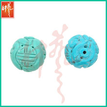High quality 20mm drilled magnesite carving gemstone turquoise beads