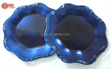 PP material decorative charger plastic plates with foil