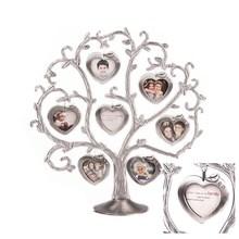 metal heart shape family tree photo frame