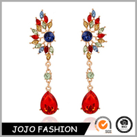 Gold plated long drop acrylic earrings for party girls, diamond stud earrings/