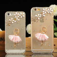 Crystal Hard Cell Phone Case for iPhone 6 5.5inch Dimond Ballerina Case for iPhone 6 Plus