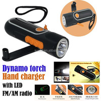 2015 power bank Hand crank dynamo or Electric torch with FM/AM Radio Noctilucent three 3 super bright LEDs flashlight ABS+PS