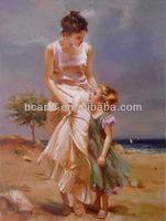 Handmade decorative beach girl oil painting