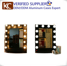 Professional mirror station,mirror station salon,salon mirror station with aluminum frame & 12pcs lamps,compact and elegant